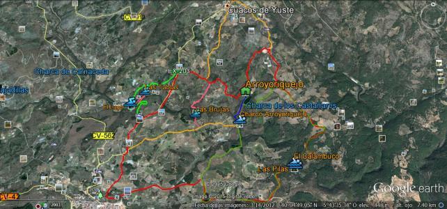 Mapa de rutas de senderismo por caminos en torno a la Garganta Pedro Chate y entre las poblaciones de Cuacos de Yuste, Jaraiz de La Vera y Collado