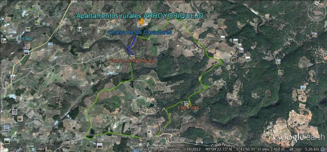 Ruta Apartamentos rurales, charco Arroyoriquejo, Las Pilas, Aptos rurales.kmz