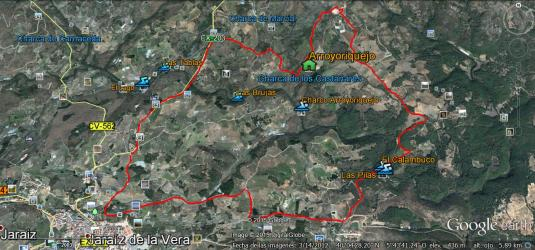 Ruta circular Arroyoriquejo 16,600km. Atraviesa la Garganta Pedro Chate 2 veces